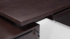 Ford Executive Modern Desk with Filing Cabinets - Dark Wood Finish