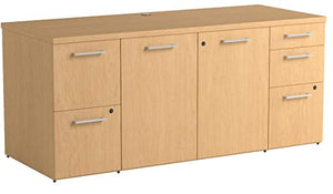 Bush Business Furniture 300 Series 72W x 22D Natural Maple Office Storage Credenza