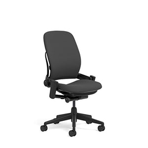 Steelcase Leap Task Chair: Black Base - Armless - No Headrest - Hard Floor Casters