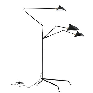 Scandinavian Style 3 Rotating Arms Carbonized Steel Black Mid Century Floor Lamp