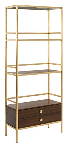 Safavieh ETG6205A Home Collection Mateo 4 Tier 1 Drawer Etagere, Gold and Walnut