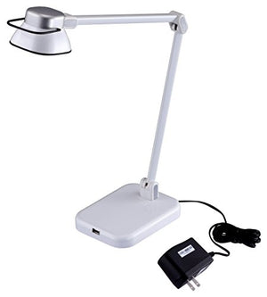 BLACK+DECKER PureOptics Elate Dual Arm 5W Flicker-Free Natural Daylight LED Desk Lamp with USB Charging Port, 2 Dimming Levels (263 Lumens), White (LED5NOV-WHT)