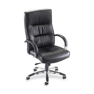 Lorell Hi-Back Executive Chair, 25-1/2 by 28 by 42-1/2-Inch to 45-1/4-Inch, Black Leather