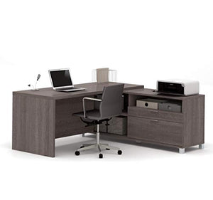 Bestar Pro-Linea L-Desk, Bark Grey