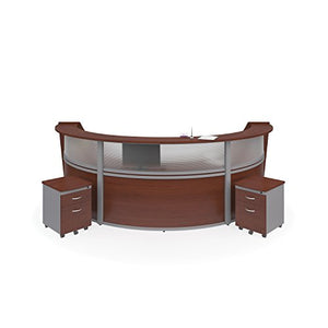 OFM Marque Plexi Triple-Unit Reception Station - Office Furniture Receptionist/Secretary Desk with Two Cherry Pedestals (PKG-55313-CHY)
