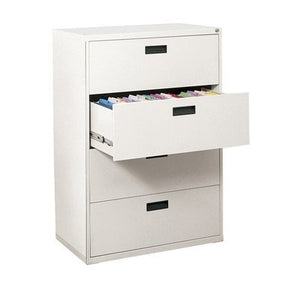 "Sandusky Lee E204L-22 400 Series 4 Drawer Lateral File Cabinet, 18"" Depth x 50.25"" Height x 30"" Width, White"