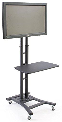 Mobile TV Stand for a 32 to 70 inch Flat Panel Monitor, 28-inch Shelf, Height-Adjustable and Tilting Bracket - Black