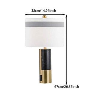 European Modern Art Bedside Lamp, Fabric Lampshade, Creative Hardware Base Bedroom Lamp for Living Room Study Office Home Decoration Club, E27, Push Button Switch