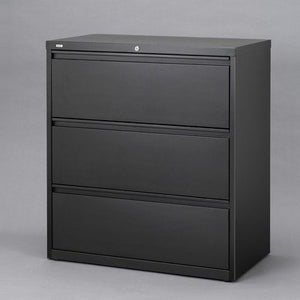 "Hirsh HL10000 Series 30"" Wide 3 Drawer Lateral File Cabinet in Black"