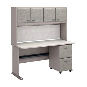 "Bush Business Furniture Series A 60"" by 27"" Desk with Hutch and 2 Drawer Mobile Pedestal, Pewter"