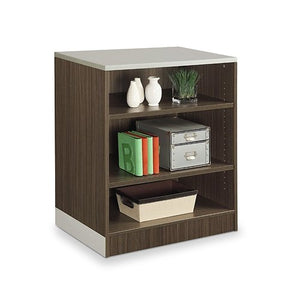 "Esquire 39""H Three Shelf Bookcase Driftwood Laminate/Silver Laminate Kickplate"