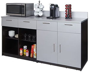 "Breaktime Group Model 2097 Break Room Furniture Combo""Ready-To-Install/Ready-To-Use"", Espresso/Grey Metallic, 2 Piece"