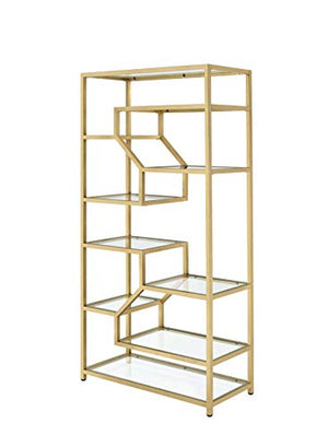 ACME Lecanga Glass and Gold Bookshelf