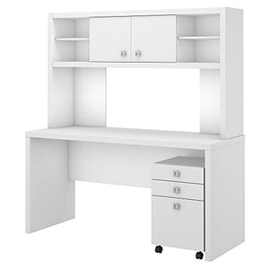 Office by kathy ireland Echo Credenza Desk with Hutch and Mobile File Cabinet in Pure White