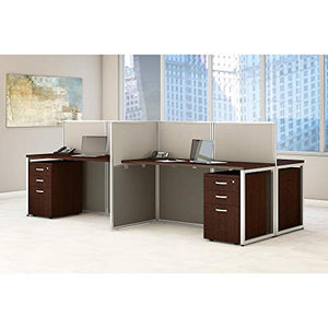 Bush Business Furniture Easy Office 60W 4 Person Straight Desk Open Office with Mobile File Cabinets in Mocha Cherry