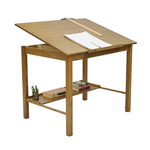 Offex Americana II Light Oak Wood 36-inch x 48-inch Drafting Craft and Hobby Table
