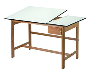 Alvin WSB60 Titan II Split Top Solid Oak White Top Drafting Table