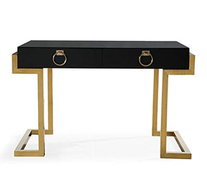 TOV Furniture The Majesty Collection Contemporary Style Bedroom Office Writing Desk, Black with Gold Accents