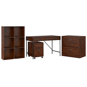 kathy ireland Home by Bush Furniture Ironworks 48W Writing Desk, 2 Drawer Mobile File Cabinet, 6 Cube Bookcase, and Lateral File Cabinet in Vintage Golden Pine