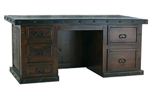 Burleson Home Furnishings Rustic Gran Hacienda File Desk Solid Wood Western Cabin Lodge Old West