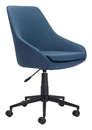 "Zuo Modern 100961 Powell Office Chair, Blue, Cushioned Seat Swivels and Adjusts in Height, Sturdy Casters, 250 lbs Weight Capacity, Dimensions 24.8""W x 34.39""H x 24.8""L"