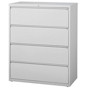 "Hirsh HL8000 Series 42"" 4 Drawer Lateral File Cabinet in Light Gray"