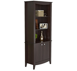 Inval BE-8004 Espresso Wengue Wood 4 Shelf Bookcase with Covered Storage