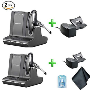 Plantronics Savi W730 Multi Device Wireless Headsets (83543-11) 2 Pack - Bundle with 2X Plantronics HL10 Handset Lifters