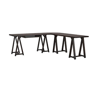 Simpli Home 3AXCSAW-10-BR Sawhorse Solid Wood Modern Industrial 84 inch Wide L-Shape Corner Desk in Dark Chestnut Brown