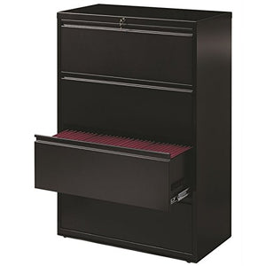 "Hirsh HL8000 Series 36"" 4 Drawer Lateral File Cabinet in Black"