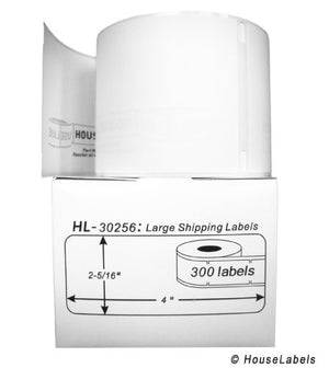 "100 Rolls; 300 Labels per Roll of DYMO-Compatible 30256 Large Shipping Labels (2-5/16"" x 4"") - BPA Free!"