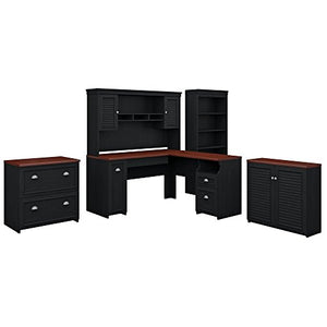 Bush Furniture Fairview 60W L Shaped Desk with Hutch, Storage Cabinets and 5 Shelf Bookcase in Antique Black and Hansen Cherry