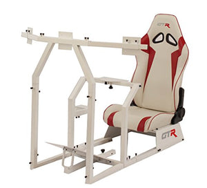 GTR Simulator GTAF-WHT-S105LWHTRD - GTA-F Model (White) Triple or Single Monitor Stand with White/Red Adjustable Leatherette Seat, Racing Simulator Cockpit Gaming Chair Single Monitor Stand
