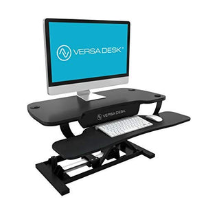 "VersaDesk Power Pro - 48"" Electric Height-Adjustable Desk Riser - Sit to Stand Desktop with Keyboard and Mouse Tray - Black"