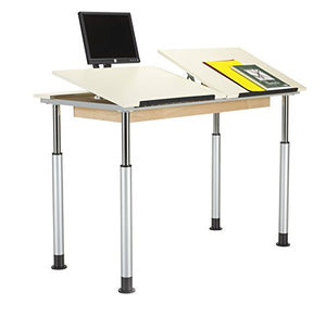 "Diversified Woodcrafts ALTD3-6030 Adjustable Leg Drafting Table, Double Station, 28-42"" Height, 30"" Width, 60"" Length, Silver/Almond"