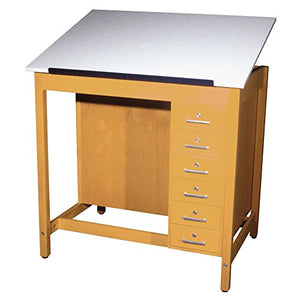 "Diversified Woodcrafts DT-33A Draft Table, 1 Piece Adjustable Board and Draw Store, 39.75"" Height, 30"" Width, 42"" Length, Northwoods Maple/Almond"