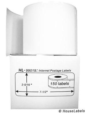 "100 Rolls; 150 Labels per Roll of DYMO-Compatible 99019 1-Part Internet Postage Labels (2-5/16"" x 7-1/2"") - BPA Free!"