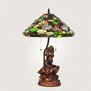 Yd&h Tiffany Style Desk Light, 17-inch Stained Glass Table Lamp with Water Lily Mermaid Base, Living Room Cafe Bedroom Bedside Light, E27, W60