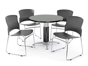 "OFM Core Collection Breakroom Set, 42"" Round Metal Mesh Base Multi-Purpose Table in Gray Nebula, 4 Multi-use Plastic Stack Chairs in Gray (PKG-BRK-029-0005)"