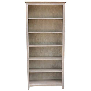 "International Concepts SH09-3227A Shaker Bookcase, 72"", Washed Gray Taupe"