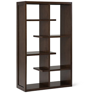 Simpli Home AXCCMD-12-NAB Camden Solid Wood 60 inch x 36 inch Industrial Bookcase in Natural Aged Brown