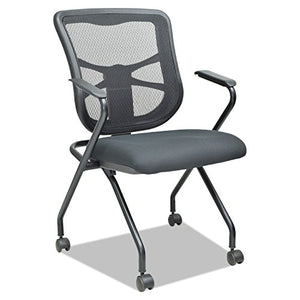 Alera ALEEL4914 Elusion Mesh Nesting Chairs, Black (Case of 2)