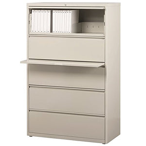 "Hirsh HL8000 Series 36"" 5 Drawer Lateral File Cabinet in Light Gray"