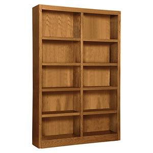 "Wooden Bookshelves Double Wide 72"" Bookcase Library Shelving 10 Shelves (Dry Oak)"