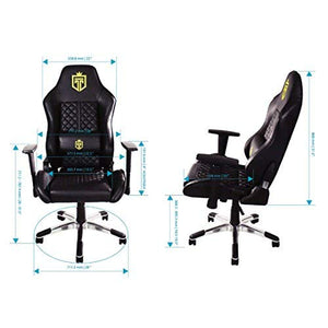GT Throne, Immersive Gaming Chair, Vibrating Computer and Console Chair, Racing Style High-Back with Lumber Support and Headrest (Bold Gold)