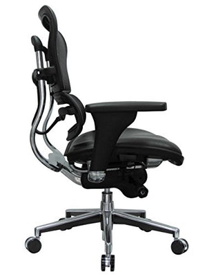 Eurotech Seating Ergohuman LEM6ERGLO(N) Mid Leather Seat/Mesh Back Swivel Chair, Black