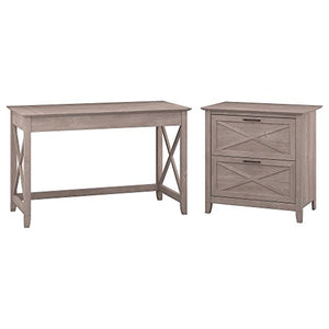 Bush Furniture Key West 48W Writing Desk with 2 Drawer Lateral File Cabinet in Washed Gray