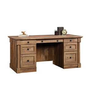 "Sauder 420604 Palladia Executive Desk, L: 65.12"" x W: 29.53"" x H: 29.61"", Vintage Oak Finish"