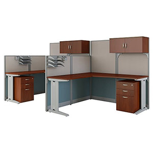Office in an Hour 2 Person L Shaped Cubicle Workstations in Hansen Cherry