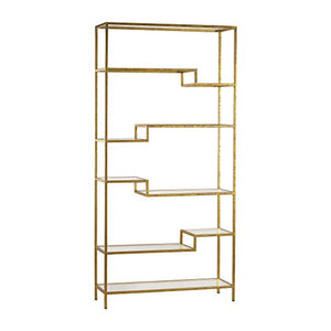 Artistic Upscale Luxe Shelving Unit, Gold/Mirror